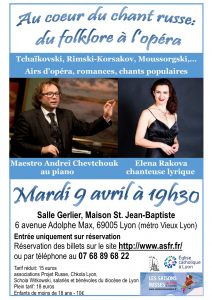 Concert « Au coeur du chant russe: du folklore à l'opéra » @ Salle Gerlier, Maison St. Jean-Baptiste